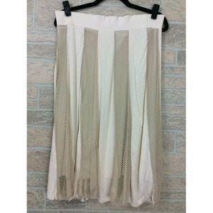 Lapis Tan A-Line Panel Skirt Mesh Details Size XL